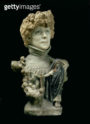 <b>Title</b> : Portrait Bust of Sarah Bernhardt (1844-1923) French actress, c.1890 (tinted marble)<br><b>Medium</b> : tinted marble<br><b>Location</b> : Musee d'Orsay, Paris, France<br> - gettyimageskorea