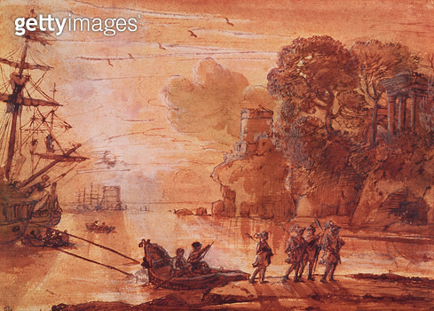 <b>Title</b> : The Disembarkation of Warriors in a Port, possibly Aeneas in Latium, 1660-65 (pen & ink wash with gouache on paper)<br><b>Medium</b> : pen and ink wash with gouache on paper<br><b>Location</b> : Bibliotheque de l'Ecole des Beaux-Arts, Paris - gettyimageskorea
