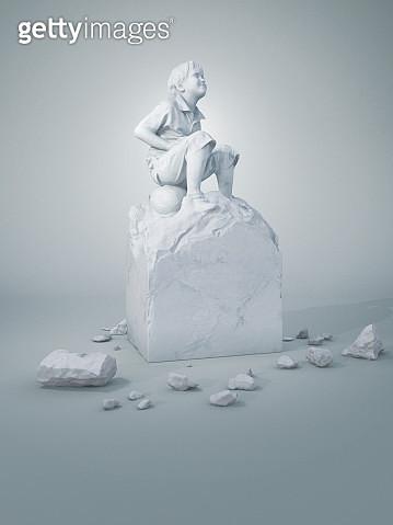 Childhood boy sculpture - gettyimageskorea