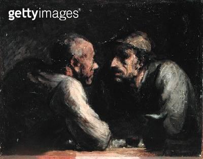 <b>Title</b> : Les Deux Buveurs (oil on canvas)<br><b>Medium</b> : oil on canvas<br><b>Location</b> : The Barnes Foundation, Merion, Pennsylvania, USA<br> - gettyimageskorea