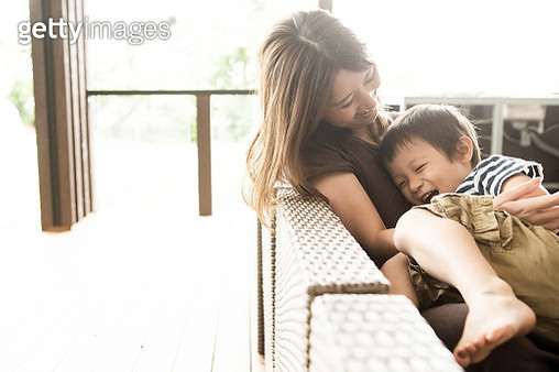 Mother and son playing together - gettyimageskorea