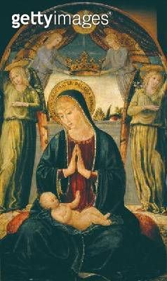 <b>Title</b> : Madonna and Child with Angels (oil on panel)<br><b>Medium</b> : <br><b>Location</b> : The Barnes Foundation, Merion, Pennsylvania, USA<br> - gettyimageskorea