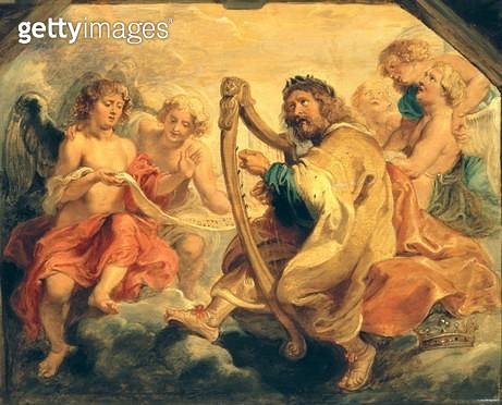 <b>Title</b> : David Playing on his Harp (oil on panel)<br><b>Medium</b> : <br><b>Location</b> : The Barnes Foundation, Merion, Pennsylvania, USA<br> - gettyimageskorea