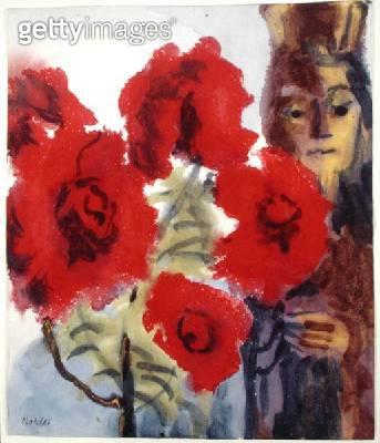 Madonna beside a Rose Bush (w/c on paper) - gettyimageskorea