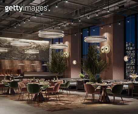 3D rendering of a luxury restaurant interior at night - gettyimageskorea