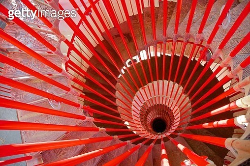 High angle view of red spiral staircase - gettyimageskorea
