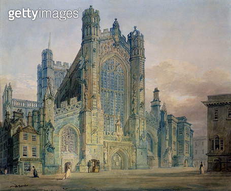 <b>Title</b> : The West Front of Bath Abbey (w/c on paper)<br><b>Medium</b> : <br><b>Location</b> : Victoria Art Gallery, Bath and North East Somerset Council<br> - gettyimageskorea