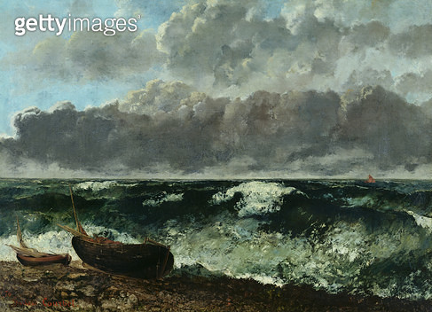 <b>Title</b> : The Stormy Sea or, The Wave, 1870 (oil on canvas)<br><b>Medium</b> : oil on canvas<br><b>Location</b> : Musee d'Orsay, Paris, France<br> - gettyimageskorea