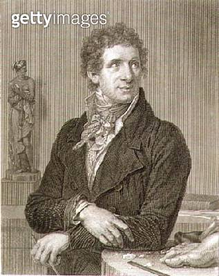 <b>Title</b> : Portrait of Antonio Canova (1757-1822) engraved by William Henry Worthington (c.1790-p.1839) (engraving)<br><b>Medium</b> : engraving<br><b>Location</b> : Private Collection<br> - gettyimageskorea