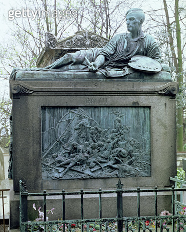 <b>Title</b> : Tomb of Jean Louis Andre Theodore Gericault (1791-1824) (stone and bronze)Additional Infoplaque depicting The Raft of the Medusa<br><b>Medium</b> : <br><b>Location</b> : Pere Lachaise Cemetery, Paris, France<br> - gettyimageskorea