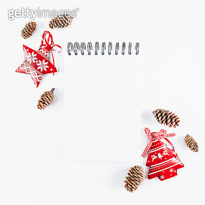 Notebook  with Christmas decoration on white background. Flat lay, top view - gettyimageskorea