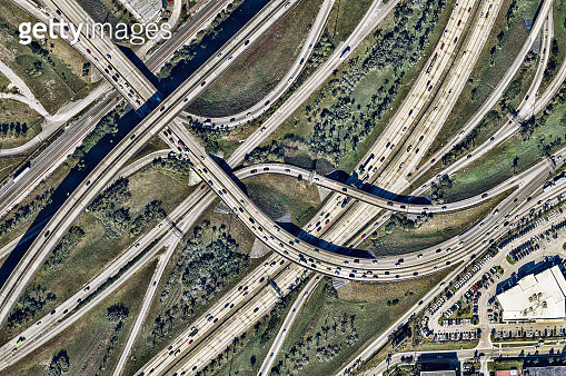 Aerial view of road junction. Florida, USA - gettyimageskorea
