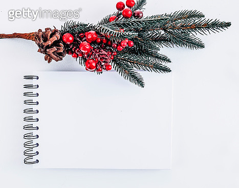 Mockup notepad with Christmas  pine tree on white background - gettyimageskorea
