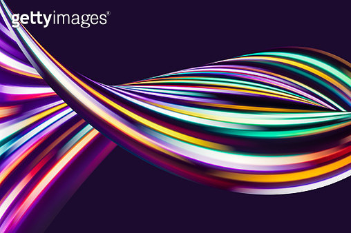 Multi Colored Abstract Flowing Light Trails in The Dark. - gettyimageskorea