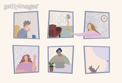 self isolation, social distance, quarantine, work at home, stay home, window, confidence, coronavirus, covid-19, isolation, connection, community, apartment. - gettyimageskorea