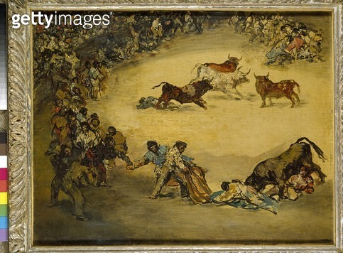 <b>Title</b> : Scene at a Bullfight: Spanish Entertainment (oil on canvas)<br><b>Medium</b> : oil on canvas<br><b>Location</b> : Ashmolean Museum, University of Oxford, UK<br> - gettyimageskorea