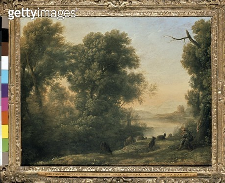 <b>Title</b> : River landscape with Goatherd Piping (oil on canvas)<br><b>Medium</b> : oil on canvas<br><b>Location</b> : Ashmolean Museum, University of Oxford, UK<br> - gettyimageskorea