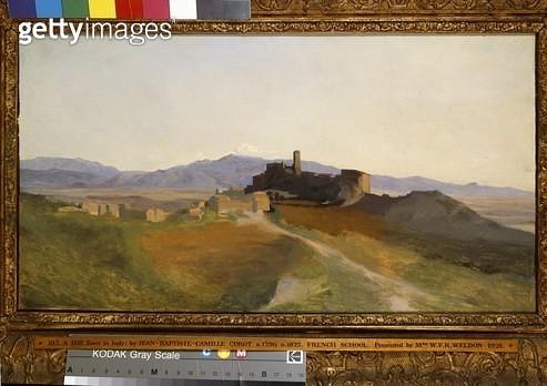 <b>Title</b> : View of Olevano (oil on canvas)<br><b>Medium</b> : oil on canvas<br><b>Location</b> : Ashmolean Museum, University of Oxford, UK<br> - gettyimageskorea