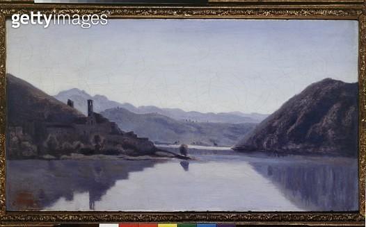 <b>Title</b> : Lago di Piediluco, Umbria (oil on canvas)<br><b>Medium</b> : oil on canvas<br><b>Location</b> : Ashmolean Museum, University of Oxford, UK<br> - gettyimageskorea