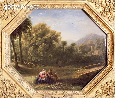 <b>Title</b> : The Rest on the Flight into Egypt, 1631 (oil on metal)<br><b>Medium</b> : oil on metal<br><b>Location</b> : Private Collection<br> - gettyimageskorea