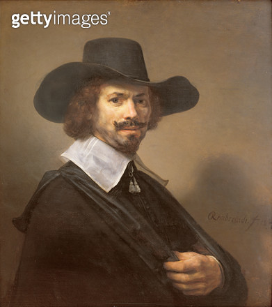 <b>Title</b> : Portrait of a Man, 1647 (oil on panel)<br><b>Medium</b> : oil on panel<br><b>Location</b> : Private Collection<br> - gettyimageskorea