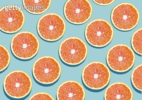 Full Frame Shot Of Orange Slice on blue background - gettyimageskorea
