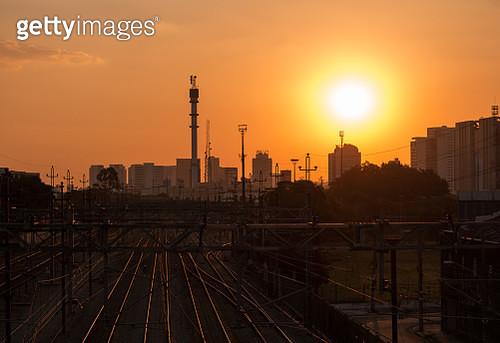 Sunset On Railway Lines - gettyimageskorea