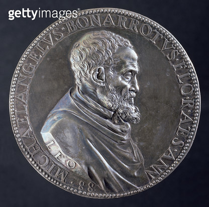 <b>Title</b> : Obverse of medal of Michelangelo Buonarroti (1475-1564) at the age of 88, 1561 (silver) (see 122330 for Reverse)<br><b>Medium</b> : silver<br><b>Location</b> : Museo Nazionale del Bargello, Florence, Italy<br> - gettyimageskorea