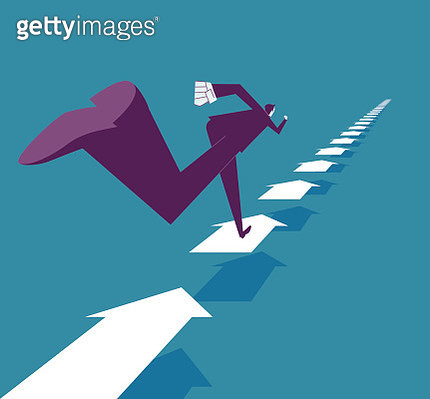 Abstract image of businessman running on arrows - gettyimageskorea