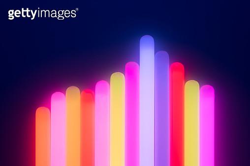Illuminated Glow Sticks Bar Graph - gettyimageskorea