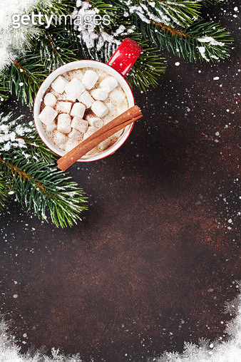 Christmas Background With Hot Chocolate - gettyimageskorea