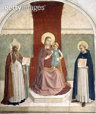 <b>Title</b> : The Virgin and Child Enthroned with SS. Zenobius and Thomas (fresco)<br><b>Medium</b> : fresco<br><b>Location</b> : Museo di San Marco dell'Angelico, Florence, Italy<br> - gettyimageskorea