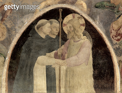 <b>Title</b> : Christ Welcomes Two Dominican Friars, (fresco) (detail of 78936)<br><b>Medium</b> : <br><b>Location</b> : Church of San Marco, Florence, Italy<br> - gettyimageskorea