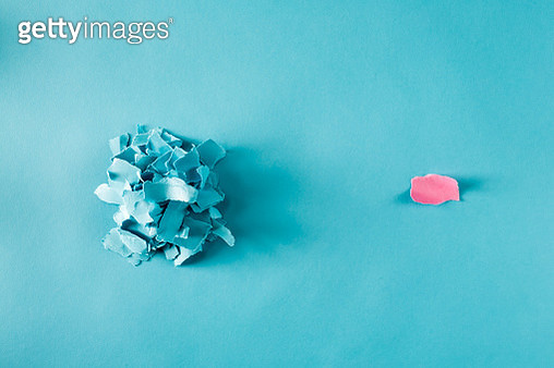 Overhead view of pile of paper pieces - gettyimageskorea