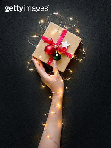 Conceptual Christmas Day gift box still life. - gettyimageskorea