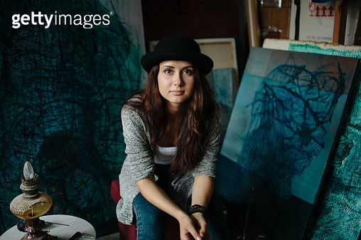 Portrait of woman in  art studio - gettyimageskorea