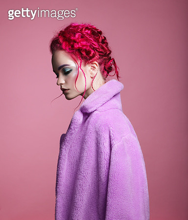 Woman with pink hair - gettyimageskorea
