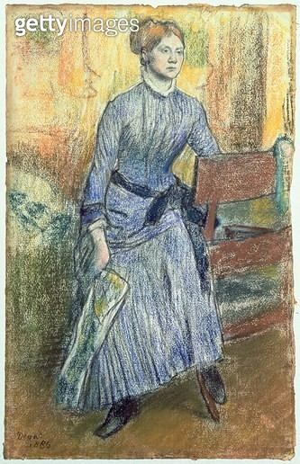 <b>Title</b> : Portrait of Helene Rouart (Mme. Marin) 1886 (pastel on paper)<br><b>Medium</b> : pastel on paper mounted at the edges on board<br><b>Location</b> : Private Collection<br> - gettyimageskorea