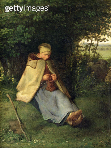 <b>Title</b> : The Knitter or, The Seated Shepherdess, 1858-60 (oil on canvas)Additional InfoLa Tricoteuse ou Une Bergere Assise Tricotant;<br><b>Medium</b> : oil on canvas<br><b>Location</b> : Musee d'Orsay, Paris, France<br> - gettyimageskorea