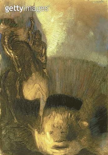 <b>Title</b> : St. George, c.1905 (pastel on paper)<br><b>Medium</b> : pastel on paper mounted on board<br><b>Location</b> : Private Collection<br> - gettyimageskorea