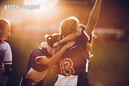 Celebrating the victory after soccer match! - gettyimageskorea