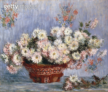 <b>Title</b> : Chrysanthemums, 1878 (oil on canvas)<br><b>Medium</b> : oil on canvas<br><b>Location</b> : Private Collection<br> - gettyimageskorea