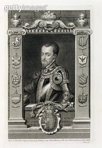 <b>Title</b> : Philip II (1527-98) King of Spain from 1556, engraved by George Vertue (1684-1756) 1735 (engraving)<br><b>Medium</b> : <br><b>Location</b> : Private Collection<br> - gettyimageskorea