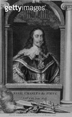 <b>Title</b> : Charles I (1600-49) King of Great Britain and Ireland from 1625, engraved by George Vertue (1684-1756) (engraving)<br><b>Medium</b> : engraving<br><b>Location</b> : Private Collection<br> - gettyimageskorea