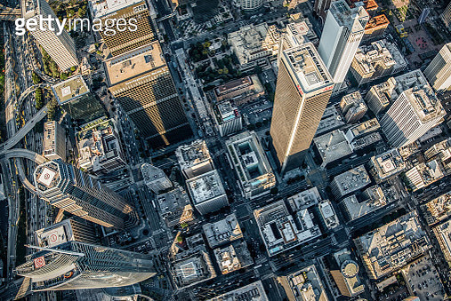 Directly Over Downtown LA - gettyimageskorea