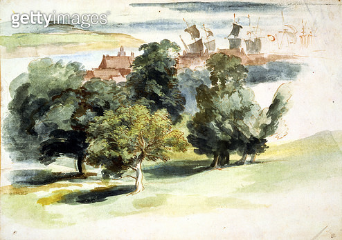 <b>Title</b> : An English Landscape, c.1635-41 (w/c, gouache and pen & ink on paper)Additional Infoperhaps Rye or Greenwich;<br><b>Medium</b> : watercolour, gouache and pen and ink on paper<br><b>Location</b> : The Barber Institute of Fine Arts, Universit - gettyimageskorea