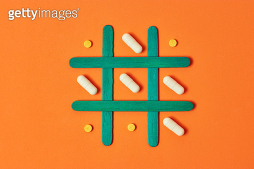 Tic Tac Toe of pills and tablets - gettyimageskorea