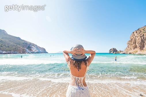 Beautiful woman on the beach - gettyimageskorea