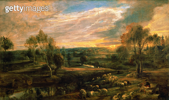 <b>Title</b> : A Landscape with a Shepherd and his Flock, c.1638 (oil on oak)<br><b>Medium</b> : oil on oak<br><b>Location</b> : National Gallery, London, UK<br> - gettyimageskorea