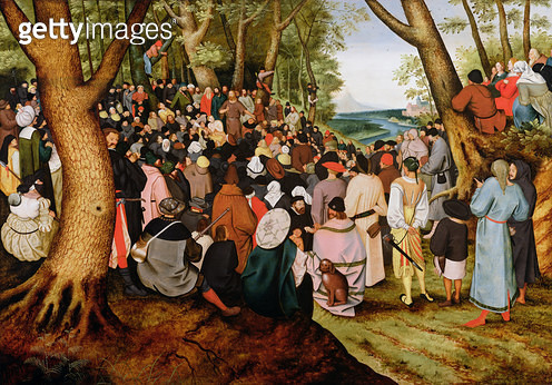 <b>Title</b> : Landscape with St. John the Baptist Preaching (oil on panel)<br><b>Medium</b> : oil on panel<br><b>Location</b> : Private Collection<br> - gettyimageskorea